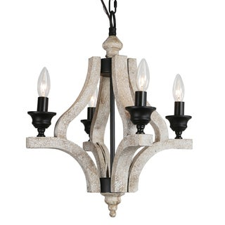 Journee Home 'Dover' Wood 18-inch Hardwired Chandelier