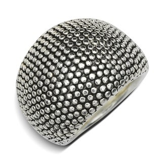 Sterling Silver Electroform Large Domed Beaded Band Ring - White