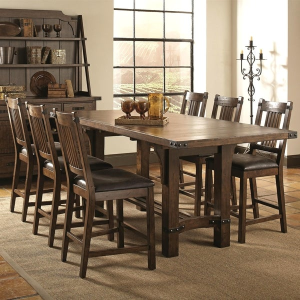 Rimon Solid Wood Mission Style Rustic Counter Height Dining Set