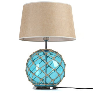 Journee Home 'Camden' Blue Fabric/ Glass Netted Rope 24-inch Table Lamp