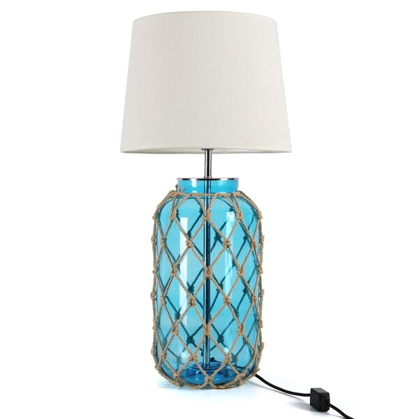 Journee Collection 'Hamilton' Fabric/Glass 30-inch Rope Table Lamp