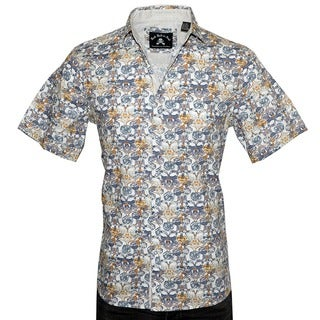 Men's Short Sleeve Casual Floral 'Every Rose has a Thorn' White Fashion Button-up Shirt by Rock Roll n Soul