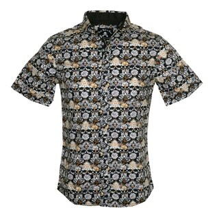 Men's 'Every Rose has a Thorn' Black Short Sleeve Casual Floral Fashion Button Up Shirt by Rock Roll n Soul