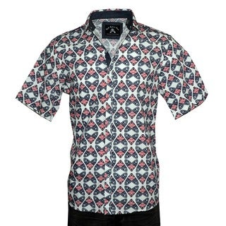 """Men's Short Sleeve Casual Geometric Design Fashion Button up Shirt by Rock Roll n Soul """"Fly's in a Jar"""" Navy"""