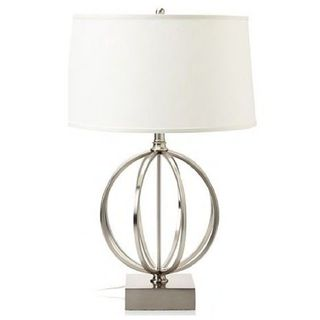 Jeco Ivy White/ Silvertone Linen/ Metal 24-inch Table Lamp