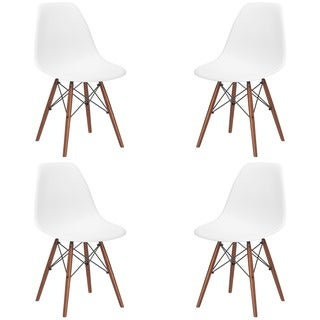 X-frame Wire and Walnut Matte Dining Chairs (Set of 4) in White(As Is Item)