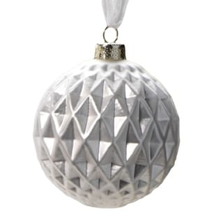 6-Piece Diamond Cut White Christmas Ball Ornament Set, Small