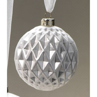 6-Piece Diamond Cut Silver Christmas Ball Ornament Set, Small