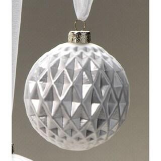 Small Holiday Ball Christmas Ornament, Diamond Cut Silver (Set of 6)