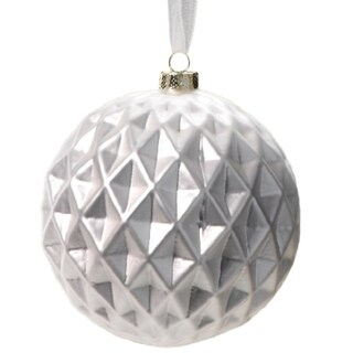 4-Piece Diamond Cut White Christmas Ball Ornament Set, Large