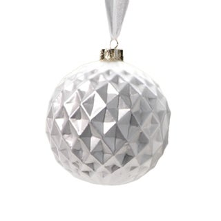 6-Piece Diamond Cut White Christmas Ball Ornament Set, Medium