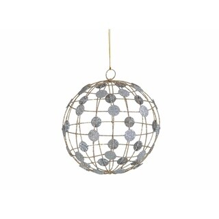 Hanging Christmas Ball Ornament, Silver Dots on Wire Pattern (Set of 6)