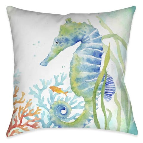 Laural Home Seahorse and Coral Indoor Decorative Pillow