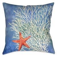 Laural Home Splashing Coral Starfish Indoor Decorative Pillow