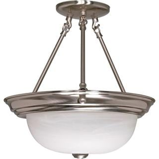 "3 Light - 15"" - Semi-Flush - Alabaster Glass"