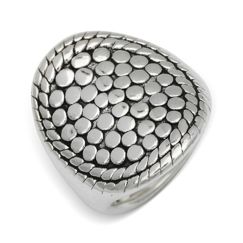 Sterling Silver Electroform Beaded Concave Cigar Band Ring - White