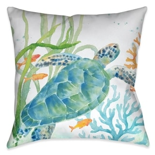Laural Home Turtle and Coral Indoor Decorative Pillow