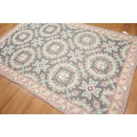Vintage Aubusson Pure Wool Ornamental Needlepoint Rug (6'x9') - Multi-color