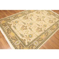 Turkish Oushak Design Multicolor Pure Wool Reversible Soumac Rug (5'x8')