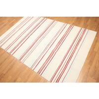 Trendy Contemporary Multicolor Wool Hand-woven Kilim Dhurry Rug (5' x 8')