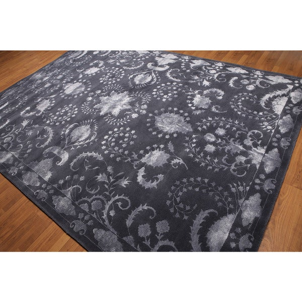 Transitional Tone-on-tone Aubergene Wool/ Bamboo Silk Area Rug (8'x11') - Multi-color
