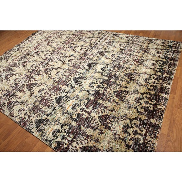 Multicolor Saree Silk Hand-knotted Area Rug - 8'6 x 11'6
