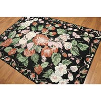 Traditional Floral Portuguese Needlepoint Wool Rug - 5' x 7'