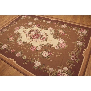 Traditional Country Floral Needlepoint Aubusson Rug (6'x9')