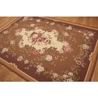 Traditional Country Floral Needlepoint Aubusson Rug (6'x9') - Multi-color