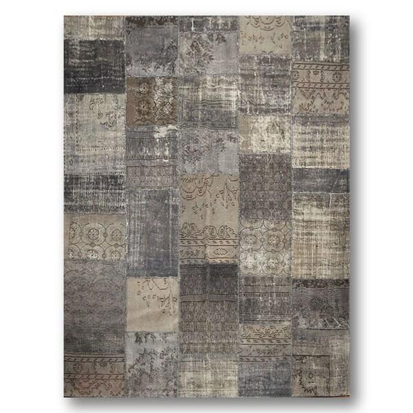 Grey/ Brown Wool-blend Handmade Patchwork Rug (9'x12') - Multi-color