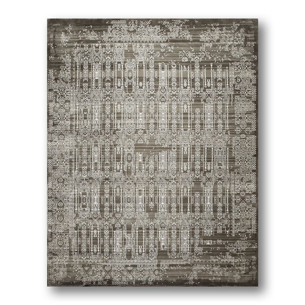 Shabby Chic Hand-knotted Transitional Ivory/ Grey Wool and Bamboo Silk Area Rug - 9'x12'