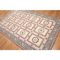 Aubusson Multicolor Wool Needlepoint French Country Area Rug (6' x 9') - Multi-color
