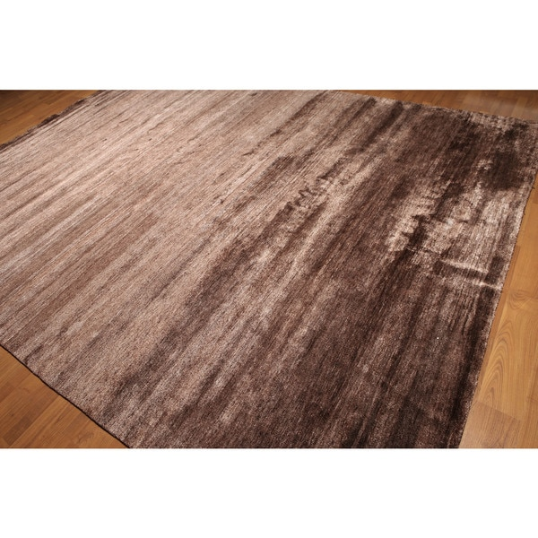 Bamboo Silk Modern Rustic Hand-knotted Rug (9'x12')