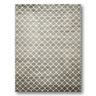 Modern Ivory/Grey Wool/Silk Contemporary Tibetan Area Rug (8' x 11')