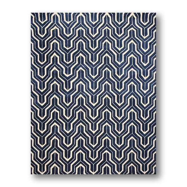 Modern Contemporary Navy/White 100-percent Wool Handmade Area Rug (8'x11')