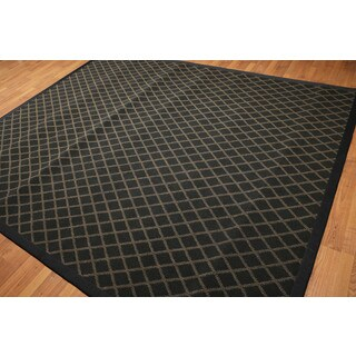 Modern Handmade Broadloom Oriental Black/Gold Wool Rug (8' x 10')