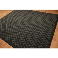 Modern Handmade Broadloom Oriental Black/Gold Wool Rug - Multi-color