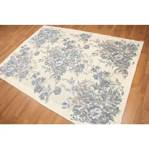 "Italian Needlepoint Aubusson Hand-woven Pure Wool Rug (5'7 x 7'10) - Ivory/Blue - 5'7"" x 7'10"" - 5'7"" x 7'10"""