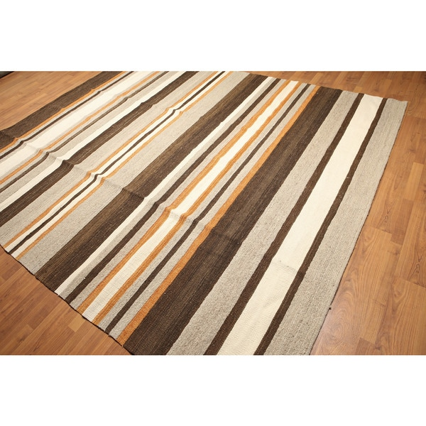 Turkish Striped Brown/Orange Wool Hand-woven Southwestern Kilim Rug - 8'x10'