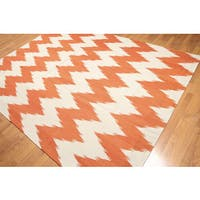 Orange/Beige Wool Chevron Hand-woven Kilim Dhurry Rug (8'x10')