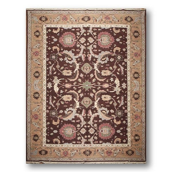 Turkish Oushak Wool Hand-knotted Reversible Rug - 9' x 12'