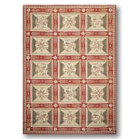 Needlepoint Aubusson Red/Beige Wool Traditional Rug - 6' x 9'