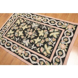 Floral Transitional Portuguese Needlepoint Pure Wool Rug (4'x6') - Multi-color