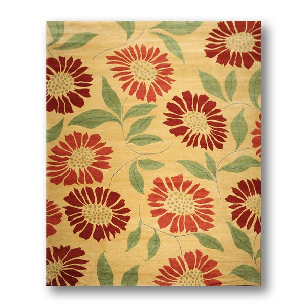 Flower Power Tufenkian Yellow/Red Wool Hand-knotted Tibetan Area Rug (9' x 12') - Multi-color