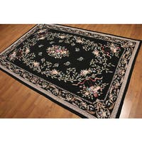 Floral Needlepoint Pure Wool Handwoven Rug - 6' x 9'