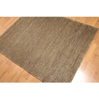 Soumac Brown Jute Hand-knotted Area Rug (4' x 6')