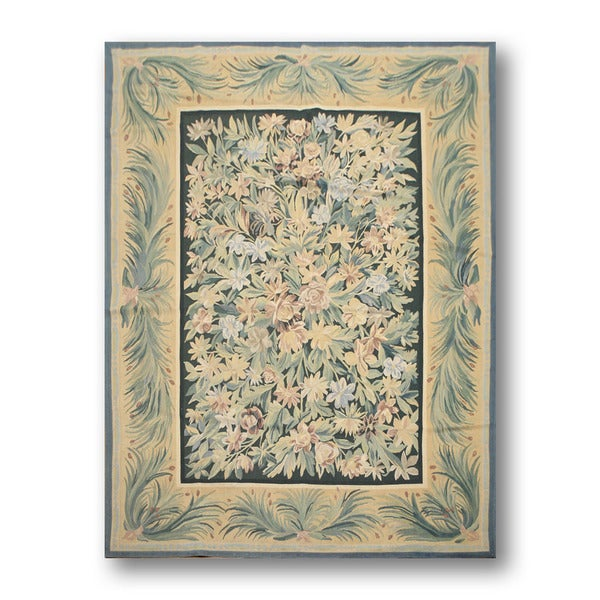 Shop Floral Country Cottage Aubusson Wool Needlepoint Rug Multi