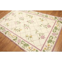 Country Cottage Portuguese Needlepoint Multicolor Wool Rug - 6' x 9'