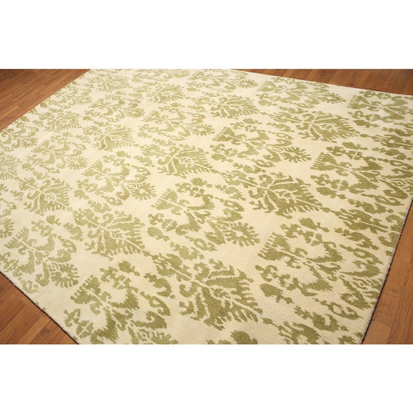 Boho White/Gold Wool Hand-tufted Contemporary Area Rug (8' x 11')