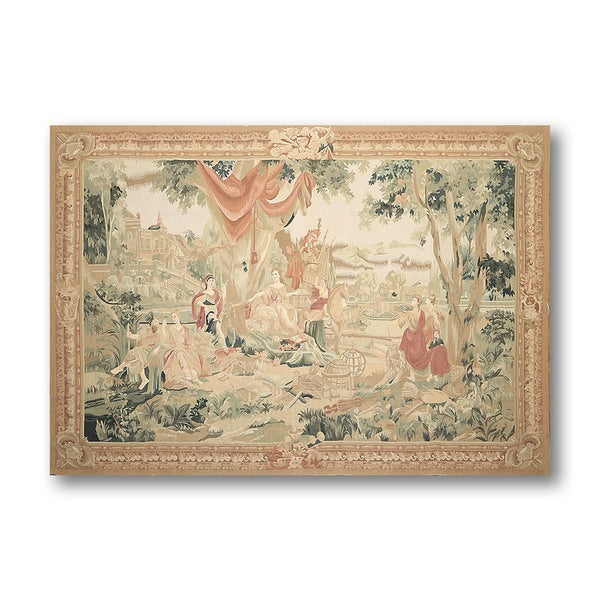 Beige Wool Classic French Country Tapestry Aubusson Needlepoint Rug 5 X27